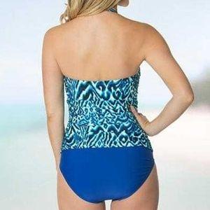Beach Diva Swim - Beach Diva Shirred Bandeau One Piece Swimsuit NWT